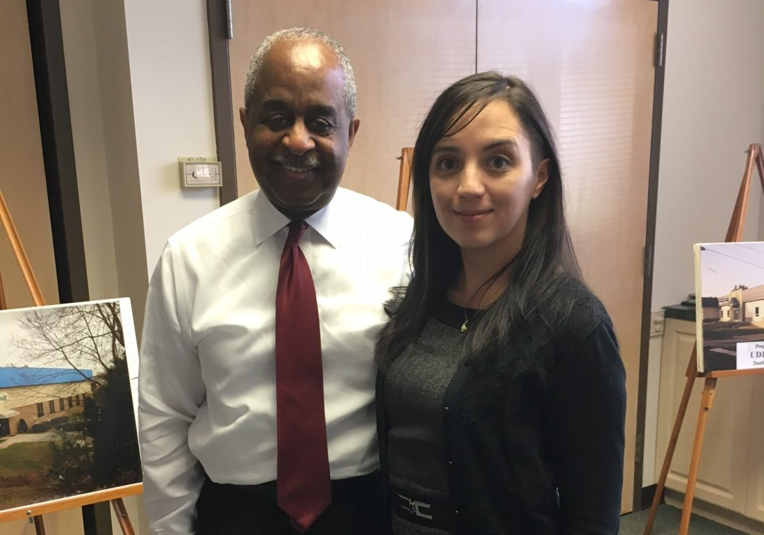 Sheila Amir pictured with Mayor Bill Bell